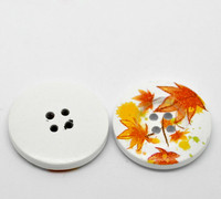 White Wood Painted Button Floral (Design No.22) Four Hole 30mm