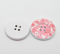 White Wood Painted Button Floral (Design No.27) Four Hole 30mm