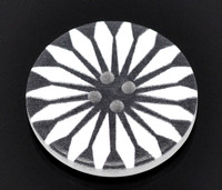 White Wood Painted Button Retro Gothic Steampunk Black & White Geometric Flower Four Hole 30mm