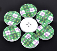 White Wood Painted Button Retro Green Plaid Four Hole 30mm