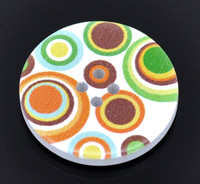 White Wood Painted Button Orange & Green Circles Four Hole 30mm