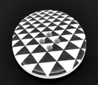 White Wood Painted Button Black & White Triangles Four Hole 30mm