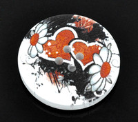 White Wood Painted Button Retro Gothic Steampunk Black & Red Heart Four Hole 30mm
