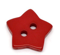 STAR Shaped Plastic Buttons Two Hole 15mm RED