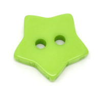 STAR Shaped Plastic Buttons Two Hole 15mm GREEN