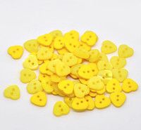 Heart Shaped Resin Buttons 12mm Yellow