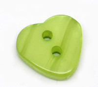 Heart Shaped Resin Buttons 12mm Green