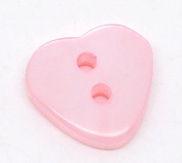Heart Shaped Resin Buttons 12mm Pink