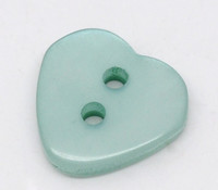 Heart Shaped Resin Buttons 12mm Cyan