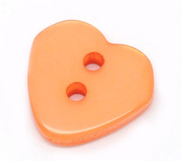 Heart Shaped Resin Buttons 12mm Orange
