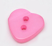 Heart Shaped Resin Buttons 12mm Fuchsia