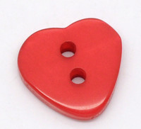 Heart Shaped Resin Buttons 12mm Red