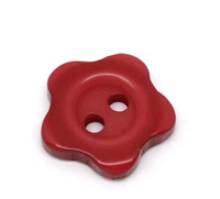 Flower Shaped 12mm Resin Buttons Red