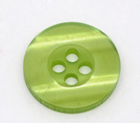 Round Plastic Buttons Four Hole 15mm Translucent Light Green