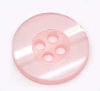 Round Plastic Buttons Four Hole 15mm Translucent Light Pink
