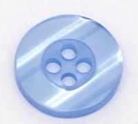 Round Plastic Buttons Four Hole 15mm Translucent Blue