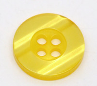 Round Plastic Buttons Four Hole 15mm Translucent Yellow