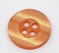 Round Plastic Buttons Four Hole 15mm Translucent Orange