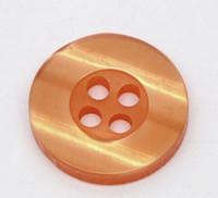 Round Plastic Buttons Four Hole 15mm Translucent Orange