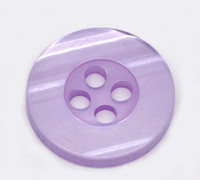 Round Plastic Buttons Four Hole 15mm Translucent Purple