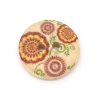 Floral (Design no.2) Painted Wood Button Two Hole Natural Wood Colour 15mm