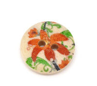 Floral (Design no.3) Painted Wood Button Two Hole Natural Wood Colour 15mm
