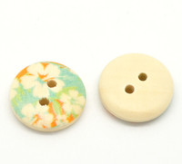 Floral (Design no.12) Painted Wood Button Two Hole Natural Wood Colour 15mm
