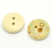 Floral (Design no.13) Painted Wood Button Two Hole Natural Wood Colour 15mm