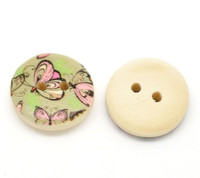 Floral (Design no.14) Painted Wood Button Two Hole Natural Wood Colour 15mm