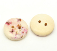 Floral Butterfly (Design no.15) Painted Wood Button Two Hole Natural Wood Colour 15mm