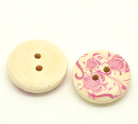 Floral Pink (Design no.16) Painted Wood Button Two Hole Natural Wood Colour 15mm