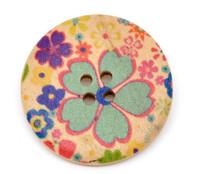 Floral (Design 1) Painted Wood Button Four Hole Natural Wood Colour 30mm