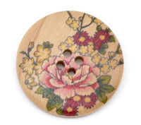 Floral (Design 2) Painted Wood Button Four Hole Natural Wood Colour 30mm