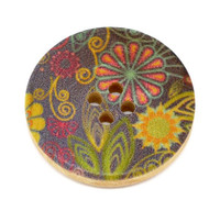 Floral (Design 9) Painted Wood Button Four Hole Natural Wood Colour 30mm