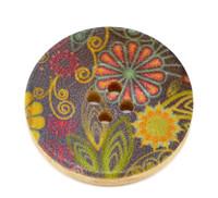 Floral (Design 9) Painted Wood Button Four Hole Natural Wood Colour 30mm