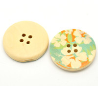 Floral (Design 12) Painted Wood Button Four Hole Natural Wood Colour 30mm