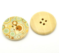 Floral (Design 13) Painted Wood Button Four Hole Natural Wood Colour 30mm