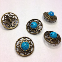 Antique Bronze Metal Shank Buttons, Round Filigree Design with Blue  Bead Centre 19 mm
