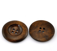 "Dark Coffee 4 Holes Round Wood Sewing Buttons 35mm(1 3/8"")"