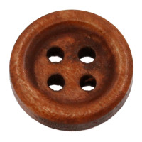 13mm Plain Wood 4 Hole Button - Red Brown