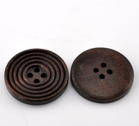 Round Ridged Design Wood Button Four Hole Dark Brown Colour 25mm