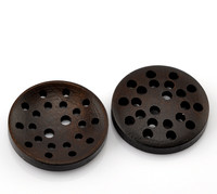 "Dark Brown Laser Cut Buttons 2 Holes 25mm(1"")"