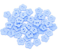 Flower Shaped 14mm Resin Button Blue