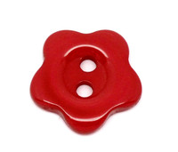 Flower Shaped 14mm Resin Button Red