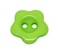 Flower Shaped 14mm Resin Button Green