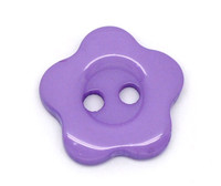 Flower Shaped 14mm Resin Button Purple