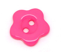Flower Shaped 14mm Resin Button Pink