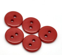 "2 Holes Mini Resin Sewing Buttons  11mm (3/8"") - Red"