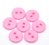"2 Holes Mini Resin Sewing Buttons  11mm (3/8"") - Pink"