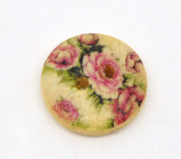 Floral Pink (Design no.17) Painted Wood Button Two Hole Natural Wood Colour 15mm